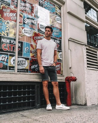 How to wear: black watch, white canvas low top sneakers, black denim shorts, white and red horizontal striped crew-neck t-shirt