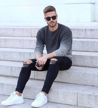 Men's Dark Brown Sunglasses, White Leather Low Top Sneakers, Black Ripped Skinny Jeans, Grey Ombre Crew-neck Sweater