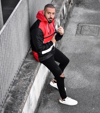 How to wear: black no show socks, white leather low top sneakers, black ripped skinny jeans, red and black windbreaker