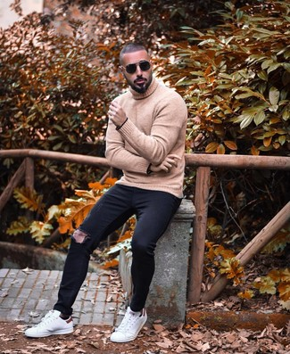 How to wear: black sunglasses, white leather low top sneakers, black ripped skinny jeans, tan wool turtleneck