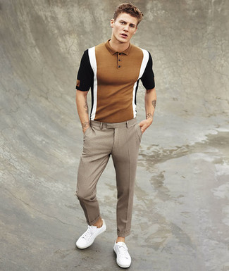 How to wear: white low top sneakers, brown check dress pants, brown polo