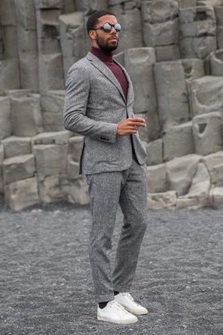 Men's Black Sunglasses, White Leather Low Top Sneakers, Burgundy Turtleneck, Grey Wool Suit