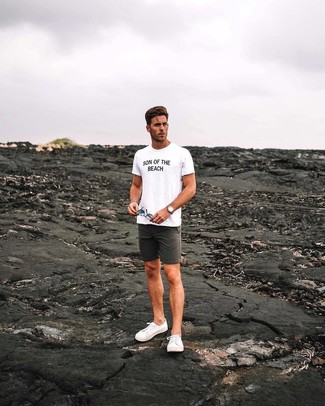 How to wear: tan leather watch, white canvas low top sneakers, charcoal shorts, white and black print crew-neck t-shirt