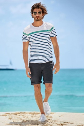 Mhl Striped Cotton T Shirt