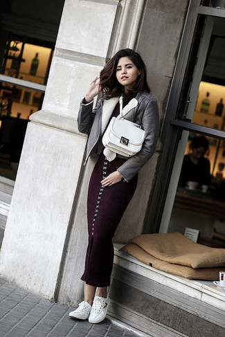 How to wear: white leather satchel bag, white low top sneakers, dark purple knit bodycon dress, grey shearling jacket