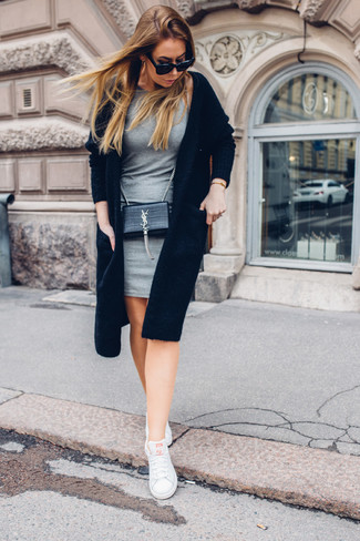How to wear: black leather crossbody bag, white low top sneakers, grey bodycon dress, black open cardigan