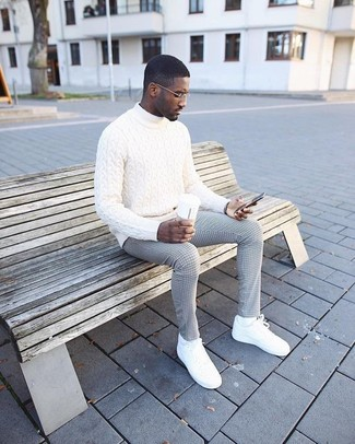 How to wear: white socks, white leather low top sneakers, grey check dress pants, white knit turtleneck