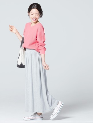 How to wear: white canvas tote bag, white canvas low top sneakers, grey maxi skirt, pink v-neck sweater