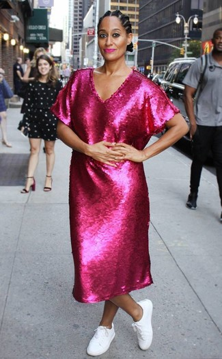 How to wear: white low top sneakers, hot pink sequin midi dress