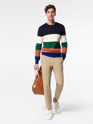How to Wear a Multi colored Crew-neck Sweater For Men: One of the most popular ways for a man to style out a multi colored crew-neck sweater is to marry it with khaki chinos for a relaxed casual look. Spice up this outfit by rocking a pair of white canvas low top sneakers.