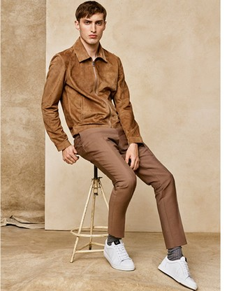 How to wear: brown socks, white leather low top sneakers, khaki dress pants, tan suede bomber jacket