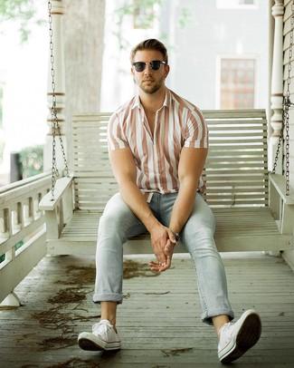 Men's Black Sunglasses, White Canvas Low Top Sneakers, Light Blue Jeans, White Vertical Striped Short Sleeve Shirt
