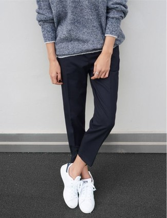 How to wear: white low top sneakers, navy dress pants, grey oversized sweater