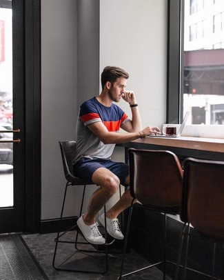 How to wear: black leather watch, white canvas low top sneakers, navy shorts, white and red and navy crew-neck t-shirt