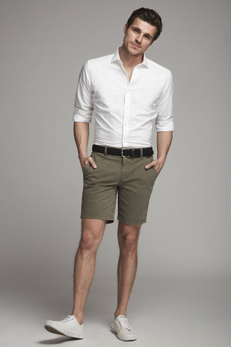 How to wear: black leather belt, white canvas low top sneakers, olive shorts, white dress shirt