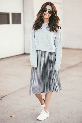 How to wear: white low top sneakers, silver pleated midi skirt, grey sweatshirt