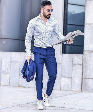 How to wear: blue sunglasses, white leather low top sneakers, white and blue print long sleeve shirt, blue suit
