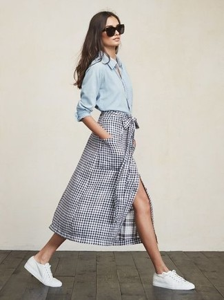 How to wear: black sunglasses, white canvas low top sneakers, white and navy check midi skirt, light blue denim shirt