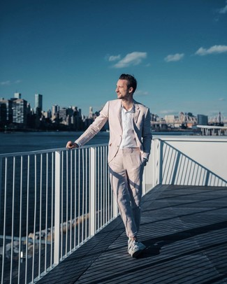 How to wear: white low top sneakers, white linen long sleeve shirt, pink suit