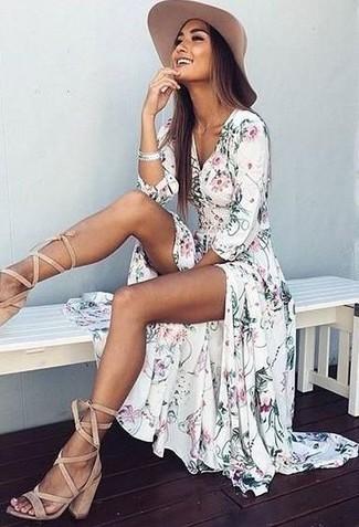 How to wear: white floral maxi dress, beige suede gladiator sandals, beige hat, silver bracelet