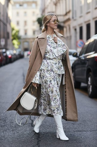 How to wear: white leather crossbody bag, white leather mid-calf boots, white floral midi dress, tan trenchcoat