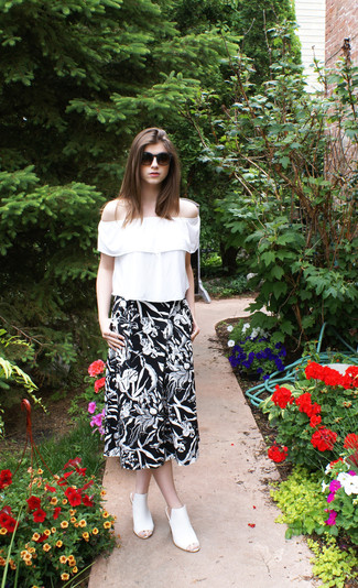 How to wear: dark brown sunglasses, white leather mules, black and white floral midi skirt, white ruffle peasant blouse