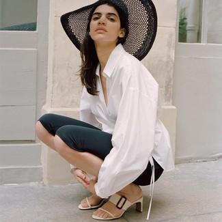 How to wear: black straw hat, white leather mules, black bike shorts, white dress shirt