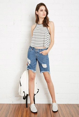 How to wear: white backpack, white leather oxford shoes, blue denim bermuda shorts, white and black horizontal striped tank
