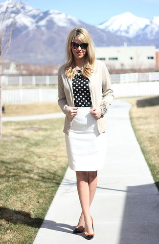How to wear: black and tan leather pumps, white pencil skirt, black and white polka dot long sleeve blouse, beige cardigan