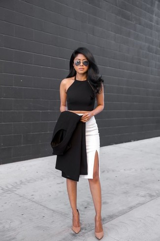 How to wear: beige leather pumps, white slit pencil skirt, black cropped top, black sleeveless coat
