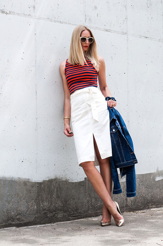 How to wear: gold leather pumps, white pencil skirt, red horizontal striped cropped top, blue denim jacket