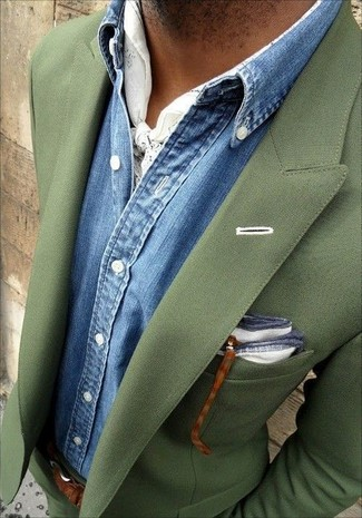 How to wear: white print scarf, white pocket square, blue denim shirt, olive suit