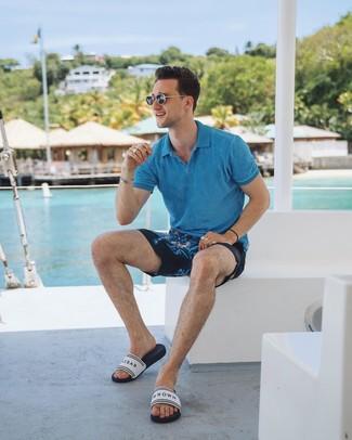 How to wear: black sunglasses, white print rubber sandals, navy print shorts, aquamarine polo