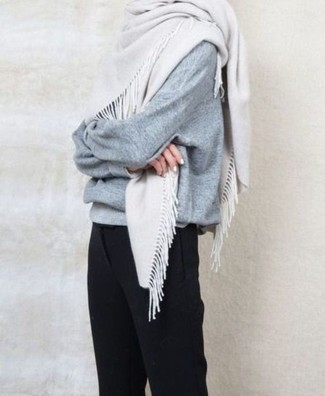 How to wear: white scarf, black dress pants, grey oversized sweater