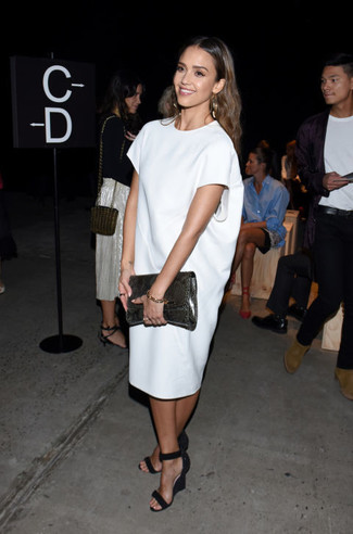 Jessica Alba wearing White Shift Dress, Black Suede Wedge Sandals, Charcoal Snake Leather Clutch
