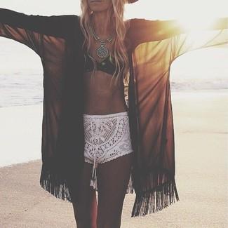 How to wear: silver necklace, white crochet shorts, black crochet bikini top, black chiffon kimono
