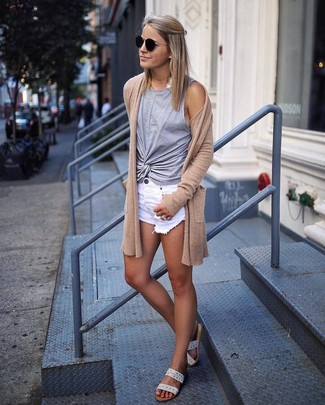 How to wear: beige leather flat sandals, white ripped denim shorts, grey tank, tan open cardigan