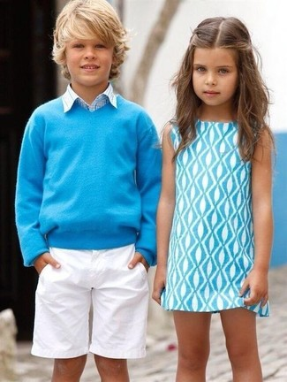 How to Wear a Light Blue Sweater For Boys: Suggest that your little angel pair a light blue sweater with white shorts for a fun day out at the playground.