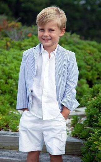 How to wear: white shorts, white long sleeve shirt, light blue blazer