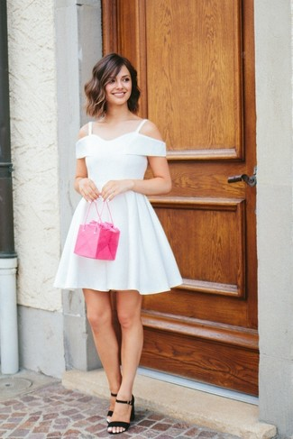 How to wear: white skater dress, black suede heeled sandals