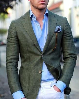 How to wear: blue print pocket square, white skinny jeans, light blue dress shirt, dark green blazer