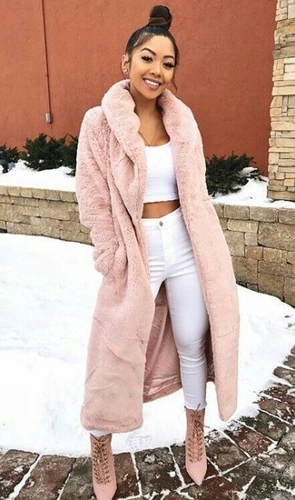 Coat In Panelled Faux Fur