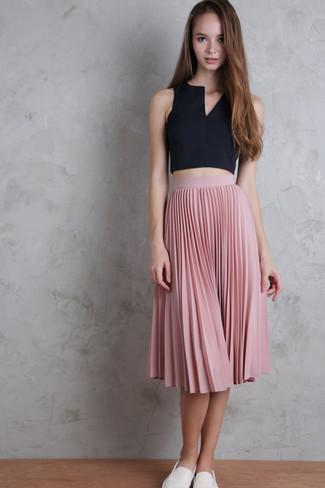 Women S White Slip On Sneakers Pink Pleated Midi Skirt Black