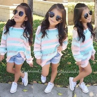 How to wear: white sneakers, light blue denim shorts, light blue sweater