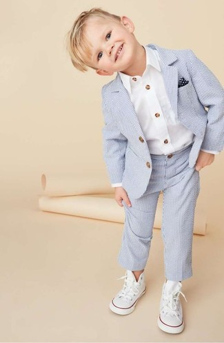Boys' Looks & Outfits: What To Wear In 2020: This combo of a light blue suit and a white long sleeve shirt will look extra adorable on your darling. This look is complemented nicely with white sneakers.