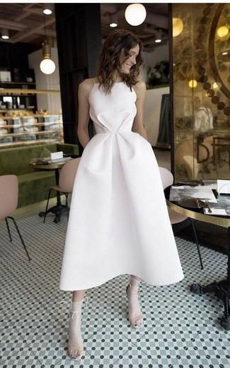 How to wear: white socks, beige leather heeled sandals, white midi dress