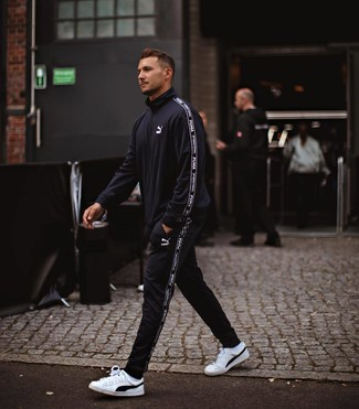 How to wear: white socks, white and black leather low top sneakers, black track suit