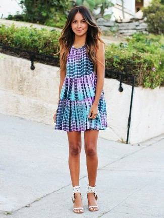 How to wear: white studded leather heeled sandals, light violet tie-dye swing dress