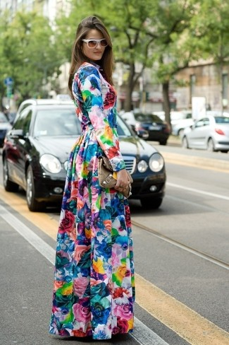 How to wear: white sunglasses, brown leather clutch, multi colored floral maxi dress