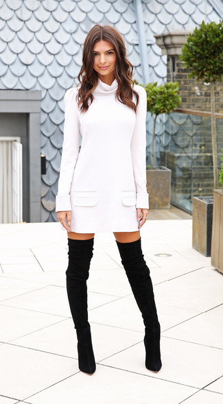 White sweater dress black suede over the knee boots large 15520